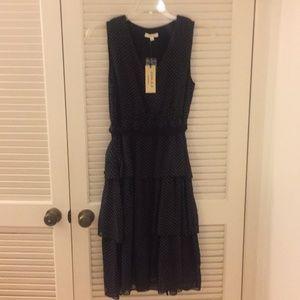 NWT Black polka dot tiered dress - Size L